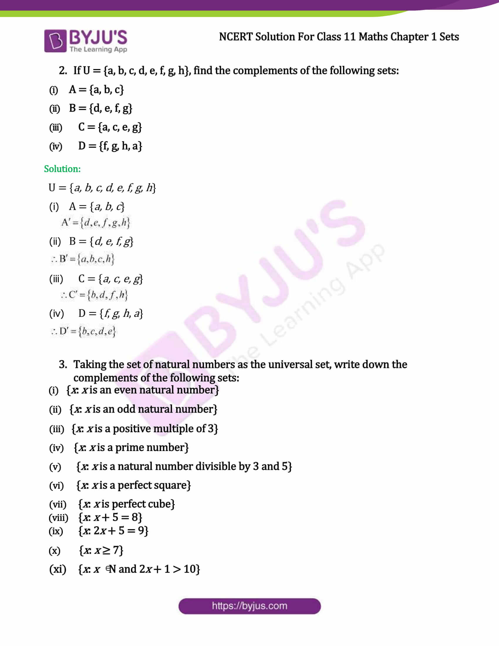 Ncert Solutions Class 11 Maths Chapter 1 Sets Ex 1 5