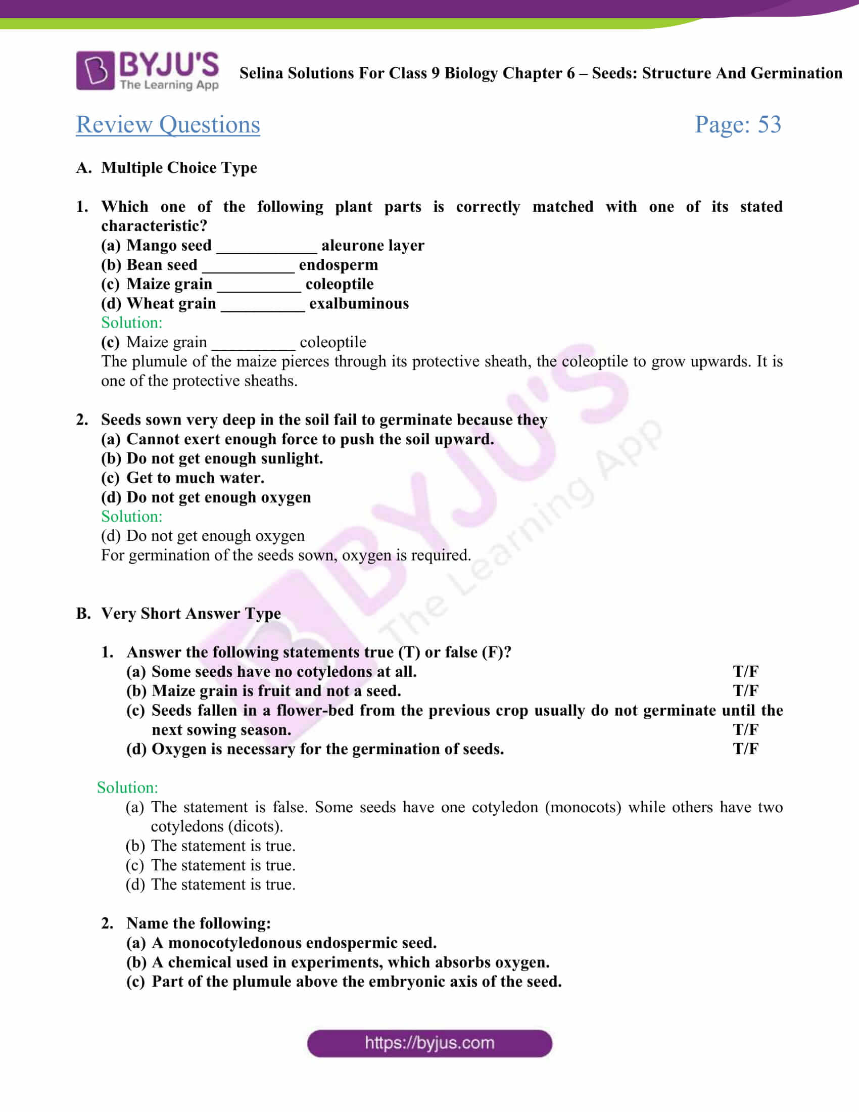Selina Solutions Class 9 Concise Biology Chapter 6