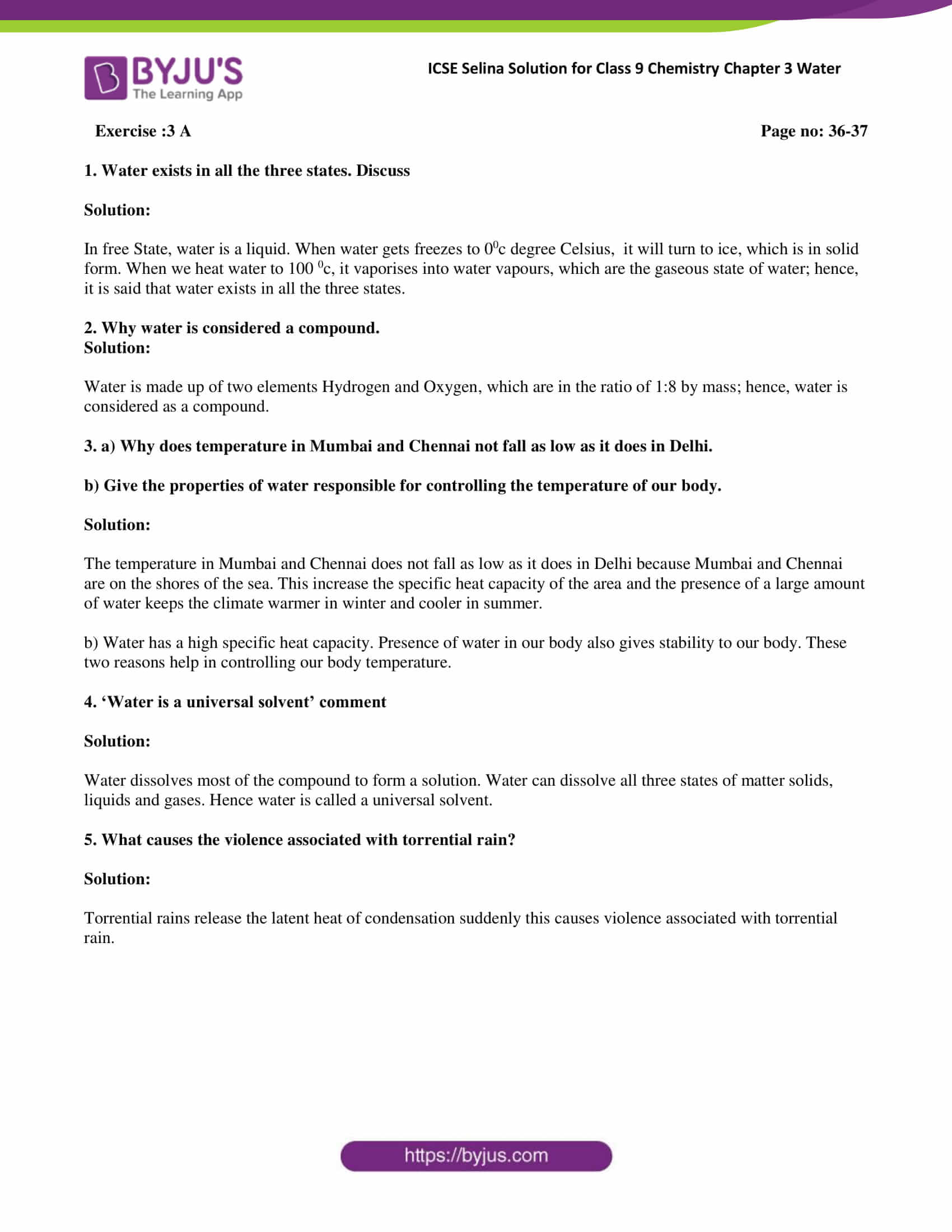 Selina Solutions Class 9 Concise Chemistry Chapter 3 Water