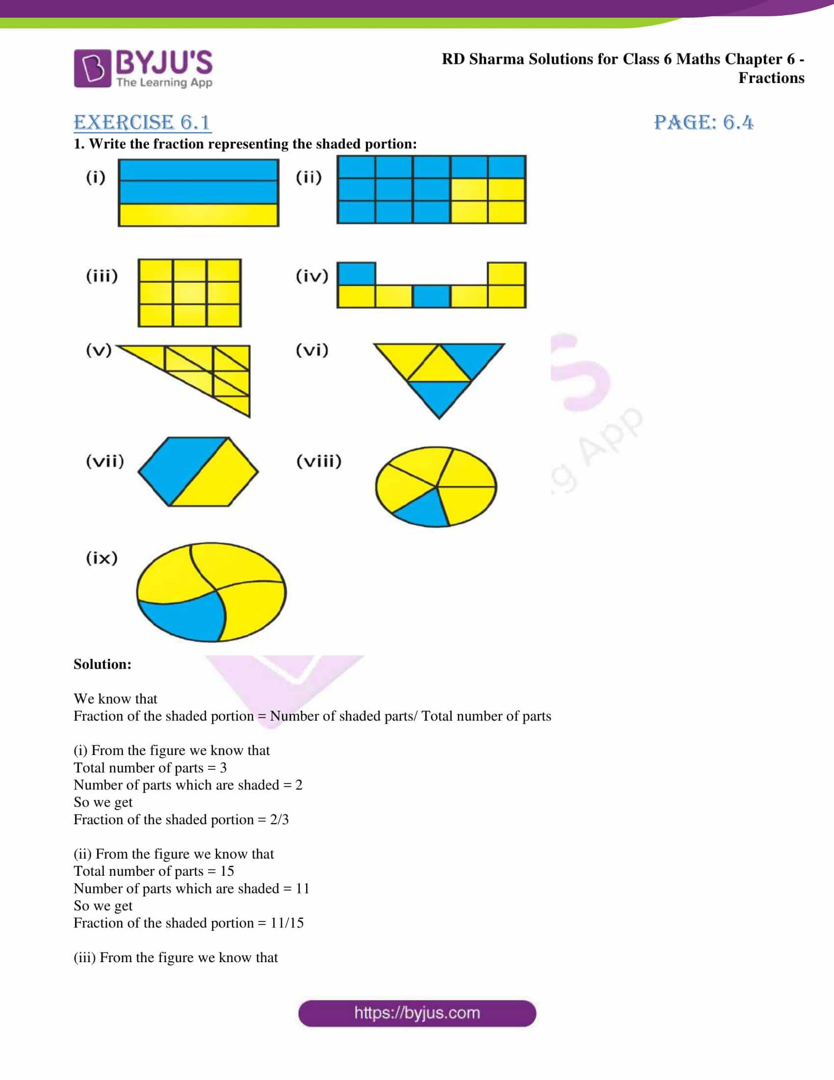 Rd Sharma Solutions For Class 6 Chapter 6 Fractions