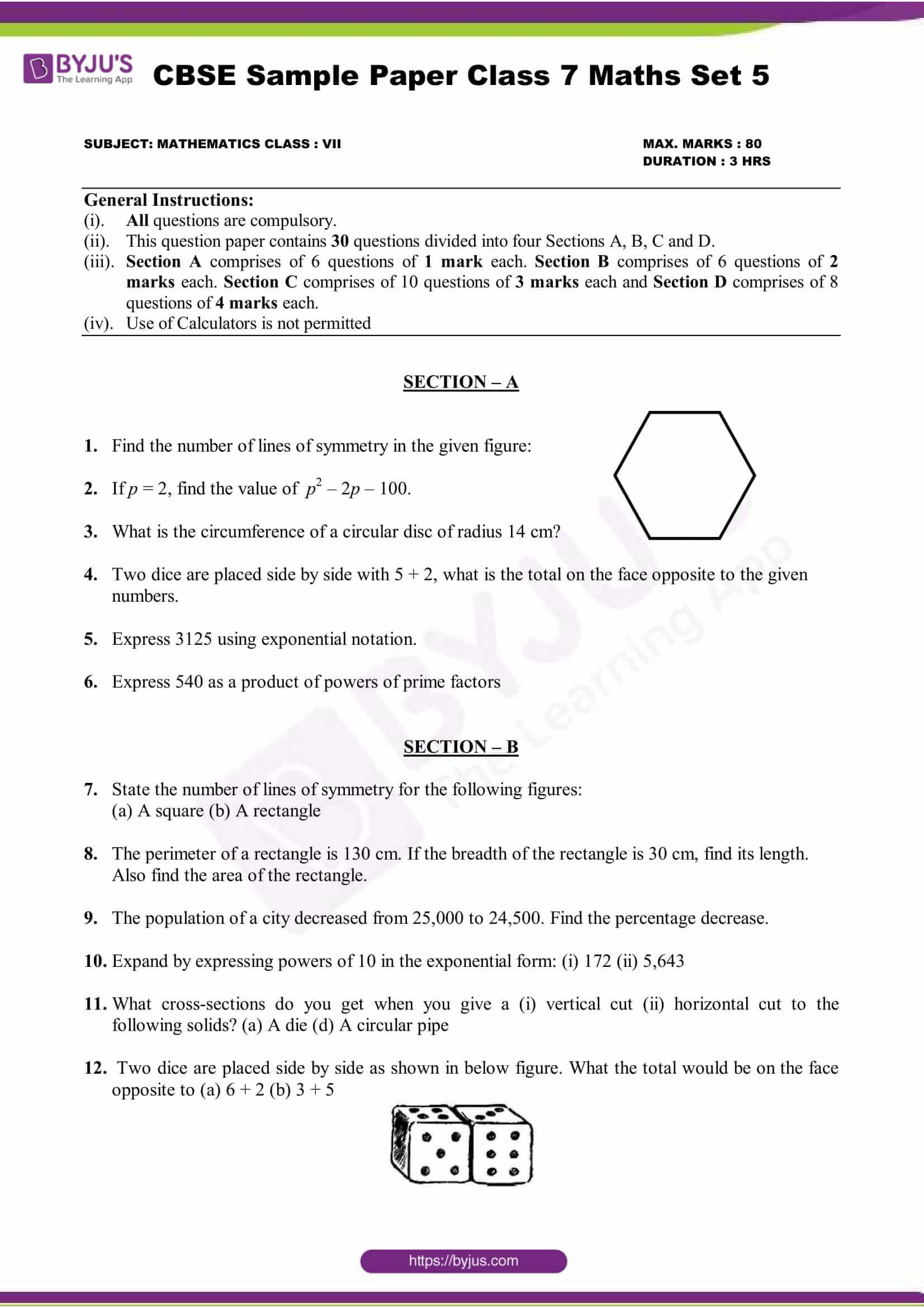 Download Cbse Class 7 Maths Sample Paper Set 5