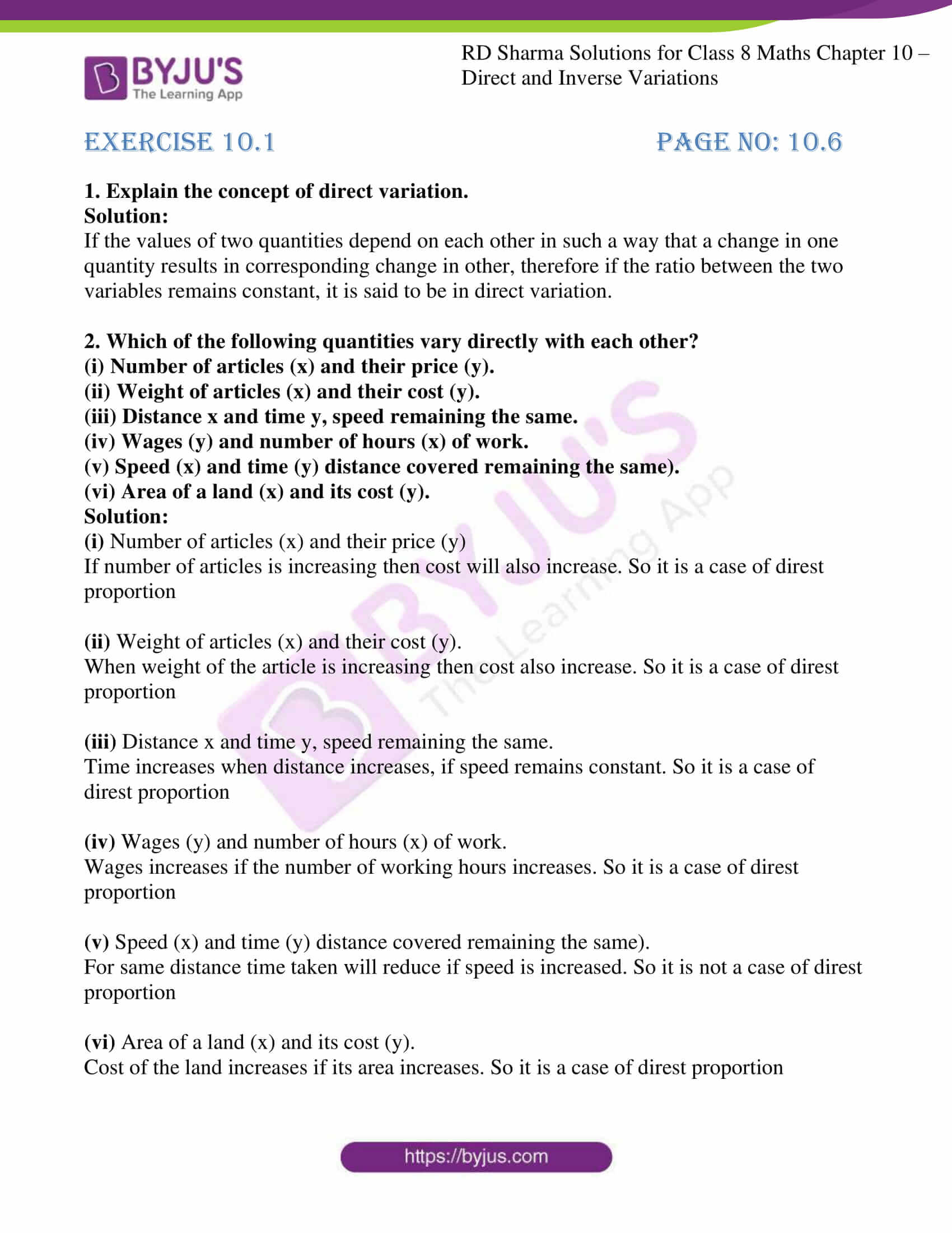 Rd Sharma Solutions For Class 8 Chapter 10 Direct And