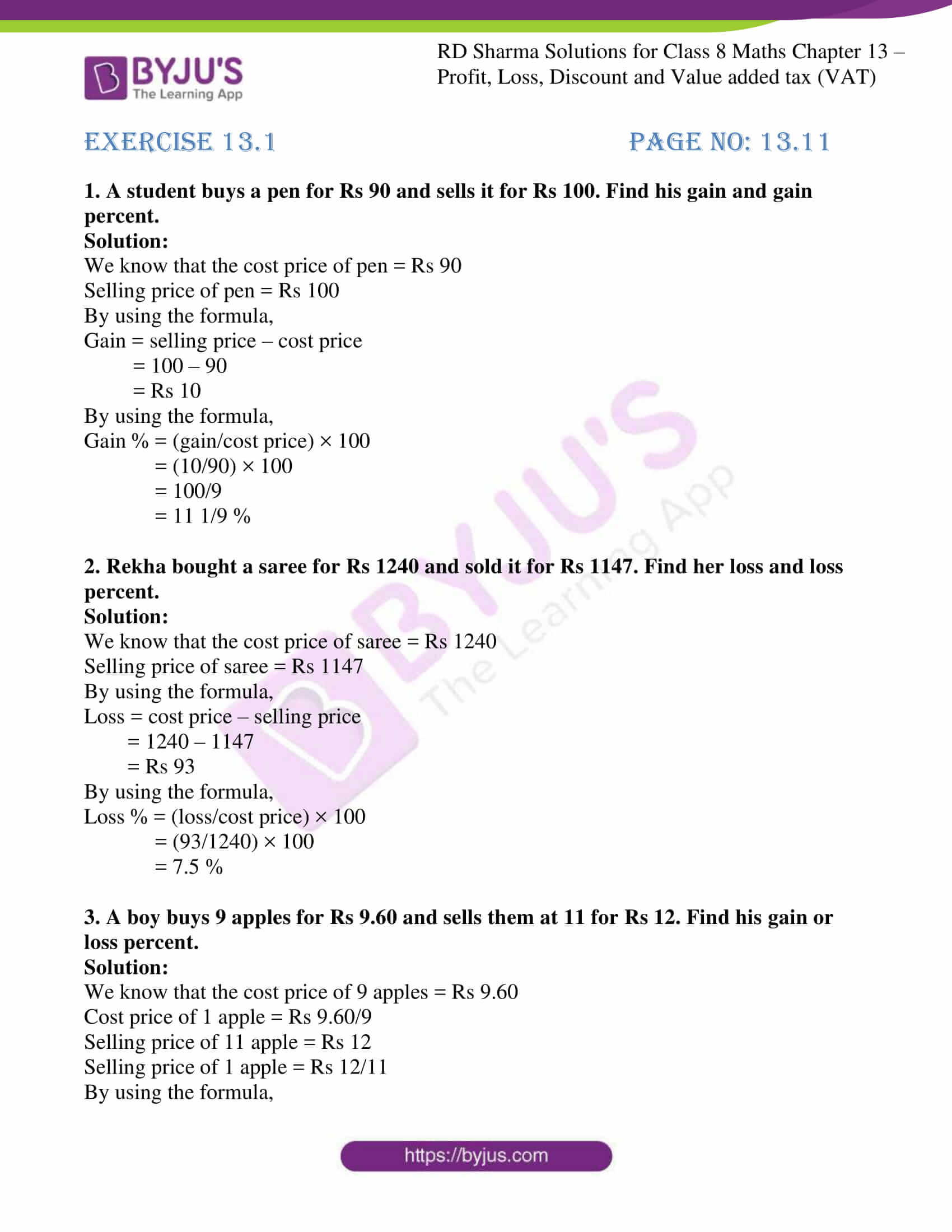 Profit And Loss Worksheet For Class 8