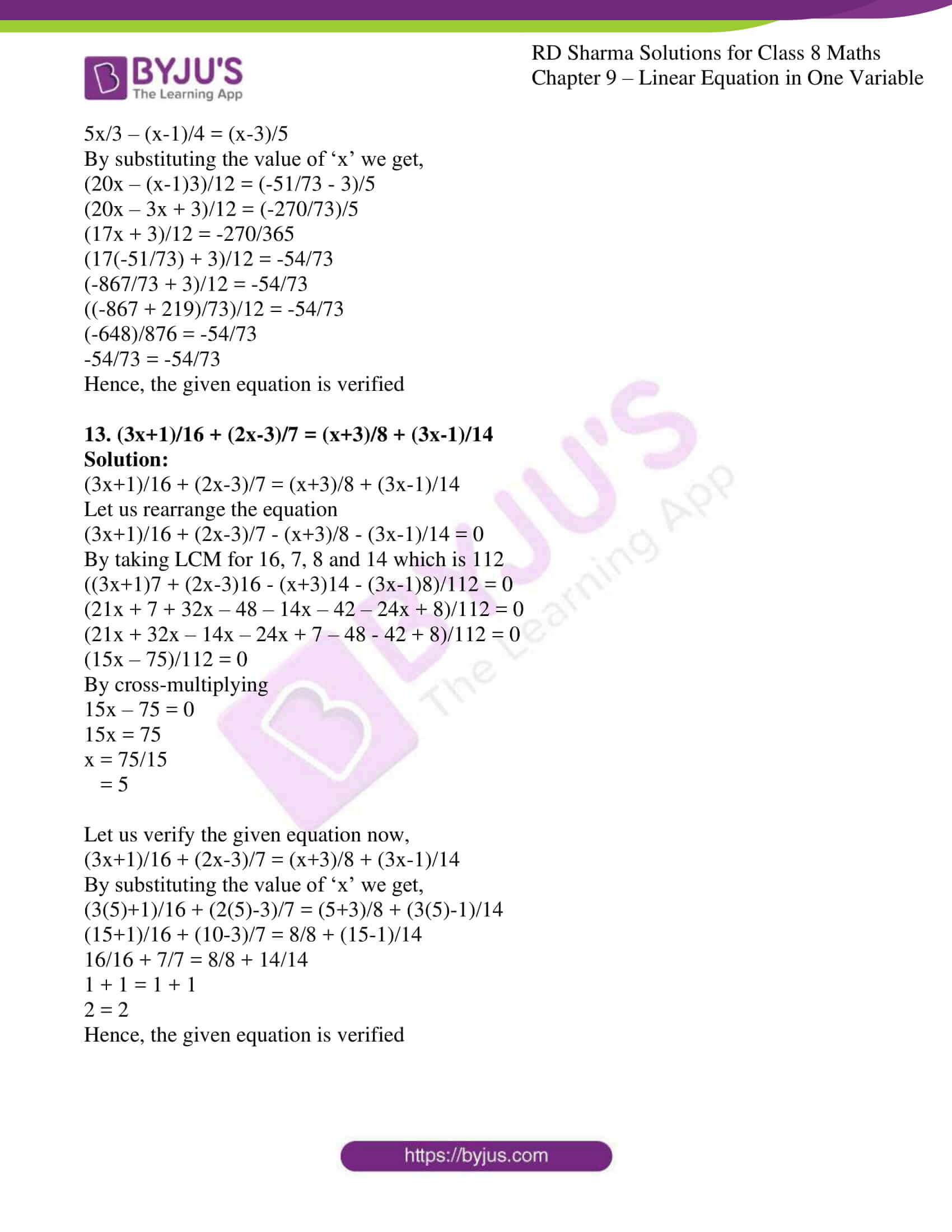 Rd Sharma Solutions For Class 8 Chapter 9 Linear Equation