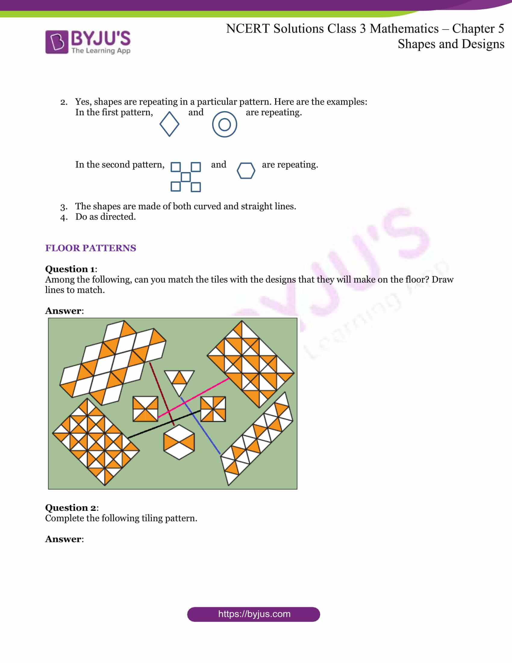 Ncert Solutions Class 3 Maths Chapter 5 Shapes And Designs