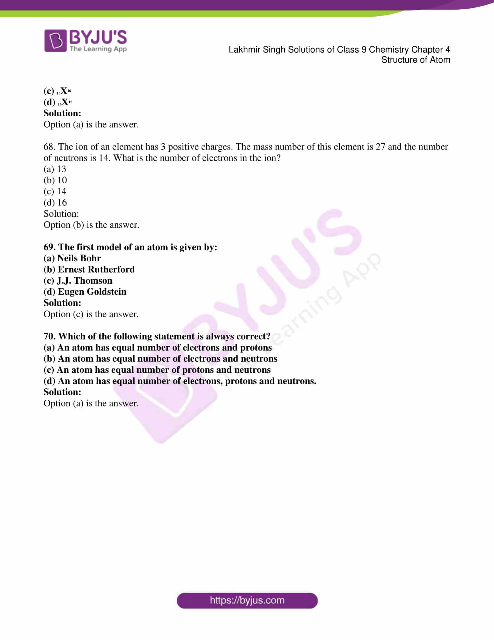Lakhmir Singh Chemistry Class 9 Solutions For Chapter 4