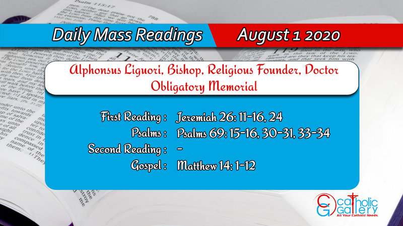 Catholic Daily Mass Readings 31 July 2020 Friday, Catholic Daily Mass Readings 31 July 2020 Friday
