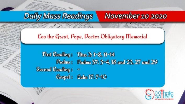 Catholic Online Daily Mass Readings Tuesday 10th November 2020