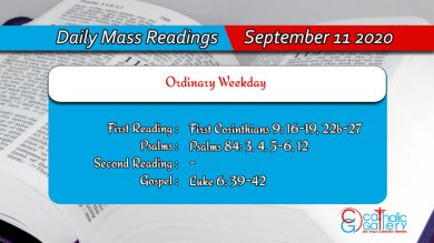 Catholic Daily Mass Readings 11th September 2020