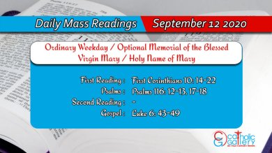 Catholic Daily Mass Reading 12th September 2020 Today Saturday