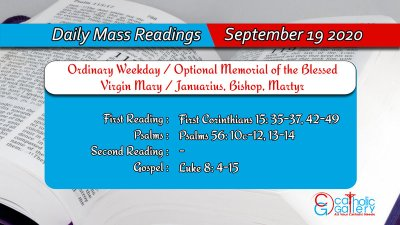 Catholic Daily Mass Readings 19th September 2020 Today Saturday