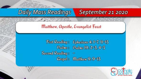 Catholic Daily Mass Readings 21st September 2020 Today Monday