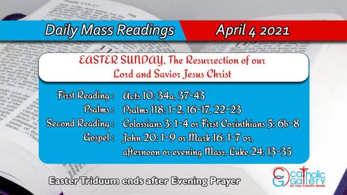 Catholic Daily Mass Reading Online Sunday 4th April 2021