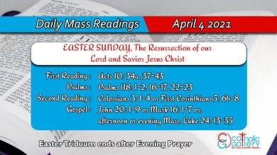 Catholic Daily Mass Reading Sunday 4th April 2021 Online