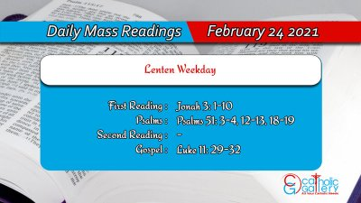 Online Daily Mass Readings for Wednesday 24th February 2021