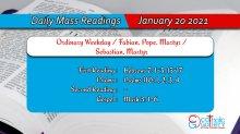 Catholic Daily Mass Readings 20th January 2021 Today Online