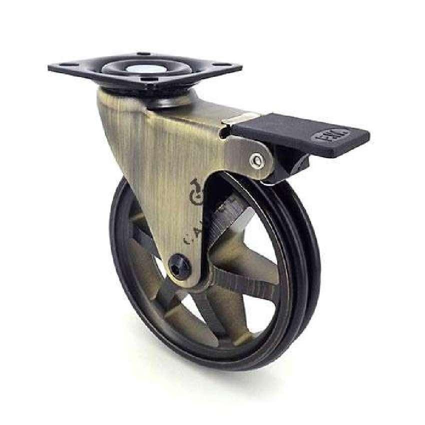 roulette design retro a frein en aluminium dore diametre 100 mm charge 55kg goldstyl100paf