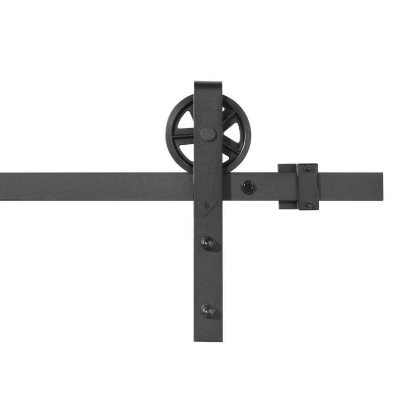 kit complet a galandage en u pour porte coulissante suspendue style poulie de grange longueur 2 m charge 100kg kit black slide u 120 mm 2m