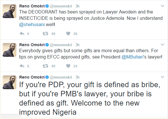 reno twit2 - Buhari's anti-corruption war has failed everywhere except in media, Show Nigerians your 'WAEC certificate, sack your thirteen senior lawyers – Reno Omokri