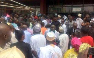 Image result for Makarfi takes possession of PDP secretariat in Abuja
