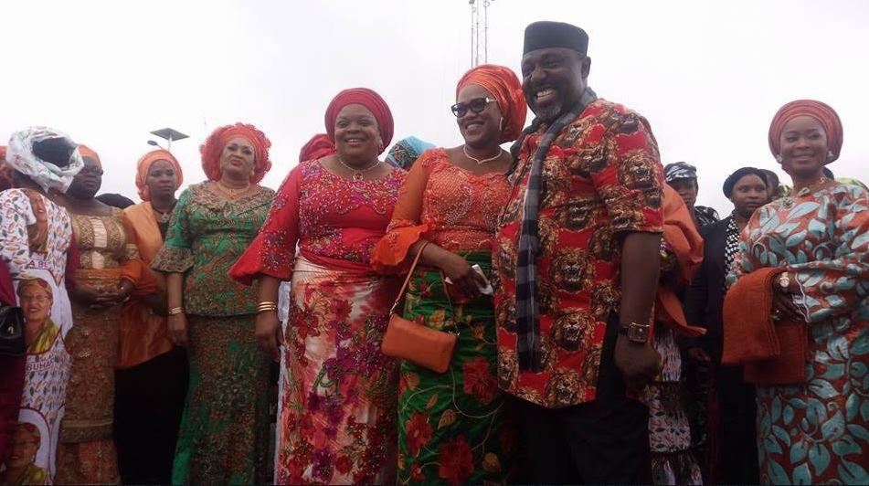 Image result for Aisha Buhari returns from London, meets Rochas Okorocha in Owerri