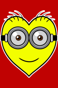 I love minion Shirt. I love minion concept. Cool heart with minion face. Colorful design, good use for any background color.