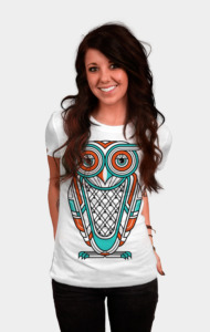 Seize the day with this version of Art Deco Owl. Available on light color t-shirts. Sacred Geometry meets Native Totem with our Art Deco Owl graphic tee. This super unique T Shirt will make a powerful statement and definitely turn a few heads. This is a T shirt design that beckons sacred spaces, places and spirits. So beckon your animal totems with this awesome shirt now!