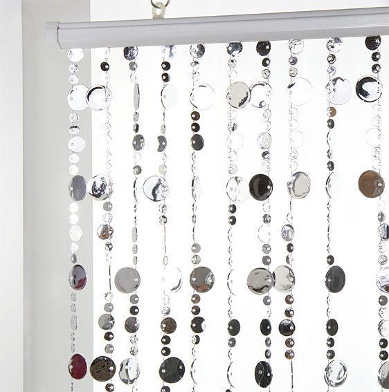 rideau de porte 90 x 220 cm perles plates argent