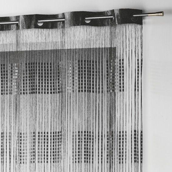 rideau fils a oeillets largeur 140 cm spaghetti noir