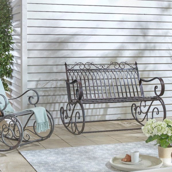 banc de jardin a bascule fer forge brun