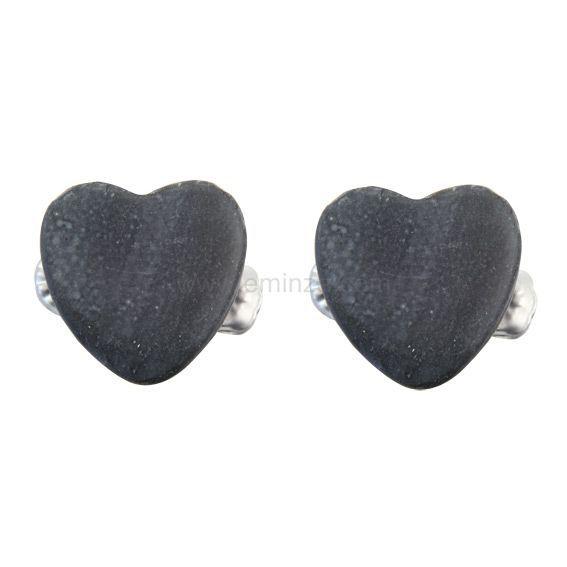 lot de 2 petites pinces coeur gris fonce