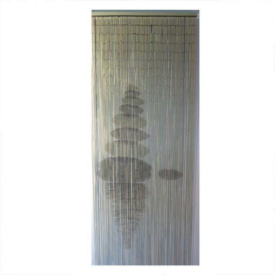 rideau de porte 90 x h200 cm bambou galets