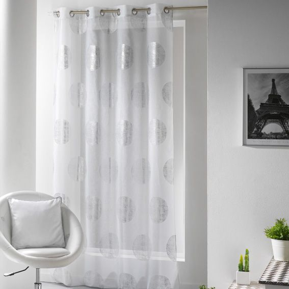 voilage 140 x 240 cm platine blanc