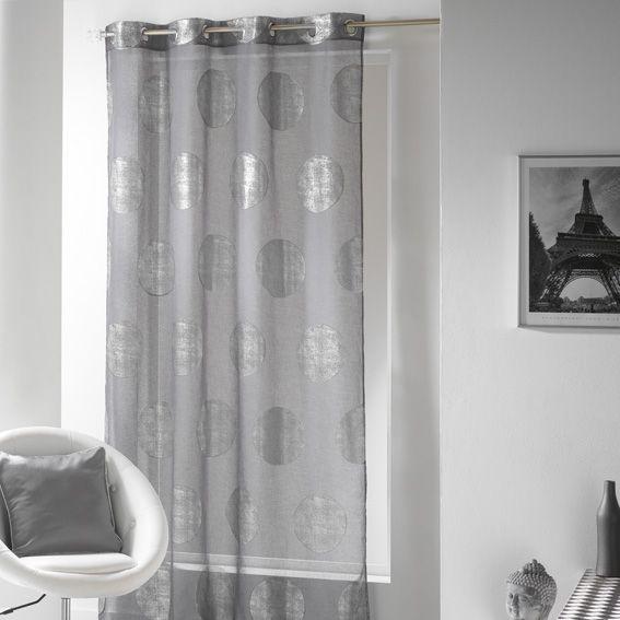 voilage 140 x 240 cm platine gris
