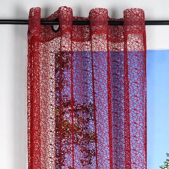 voilage 140 x 250 cm spider rouge