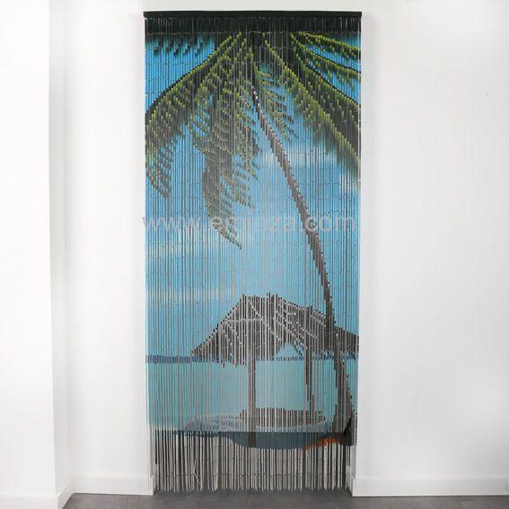 rideau de porte 90 x h200 cm bambou palmier