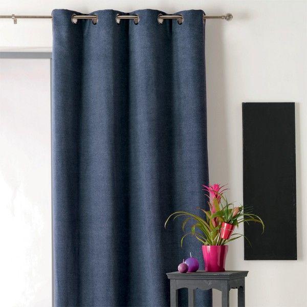 rideau occultant isolant 140 x h260 cm alaska bleu