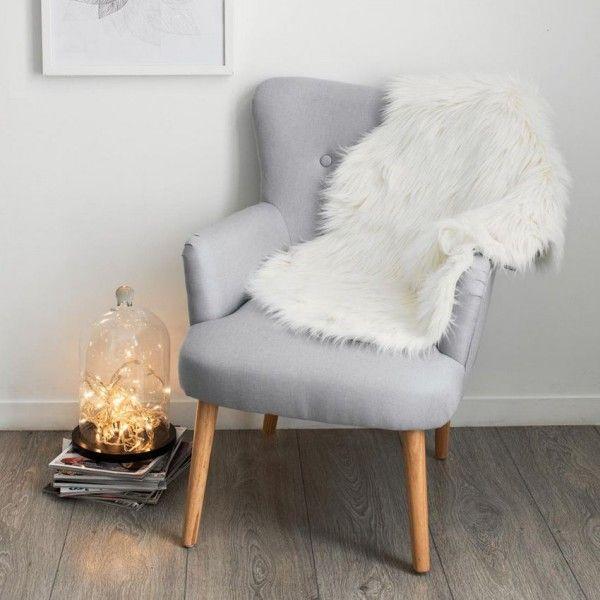 tapis peau de bete 90 cm imitation fourrure blanc