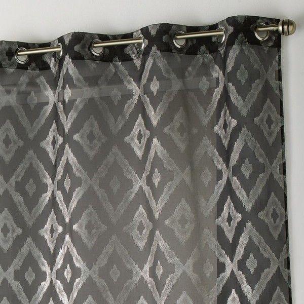 voilage 140 x 240 cm lenox noir et argent