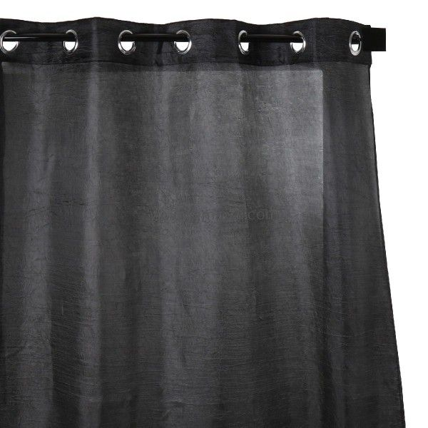 voilage 140 x 260 cm plisso noir