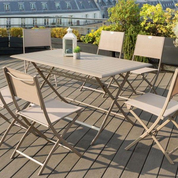 table de jardin pliante aluminium azua 150 x 80 cm taupe