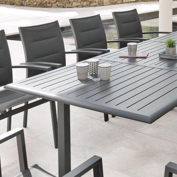 table de jardin extensible aluminium azua 300 x 100 cm ardoise