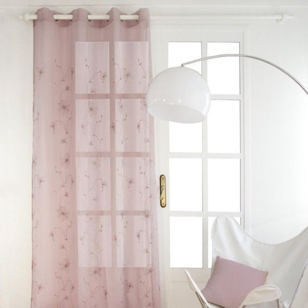 voilage 140 x h240 cm dolly lys rose pale