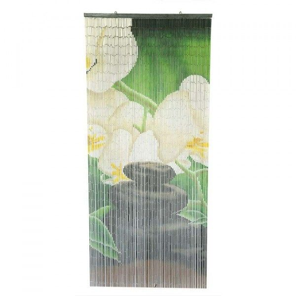 rideau de porte 90 x 200 cm stick bambou zen vert