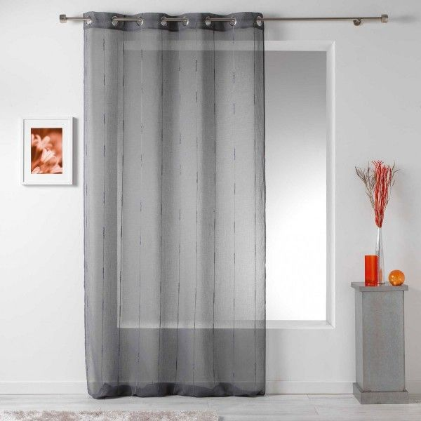 voilage 140 x 260 cm linahe gris anthracite