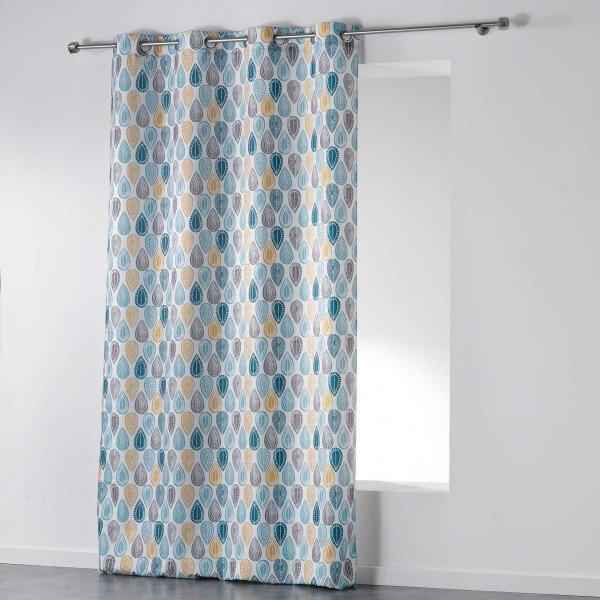 rideau tamisant 140 x 260 cm palpito blanc et bleu