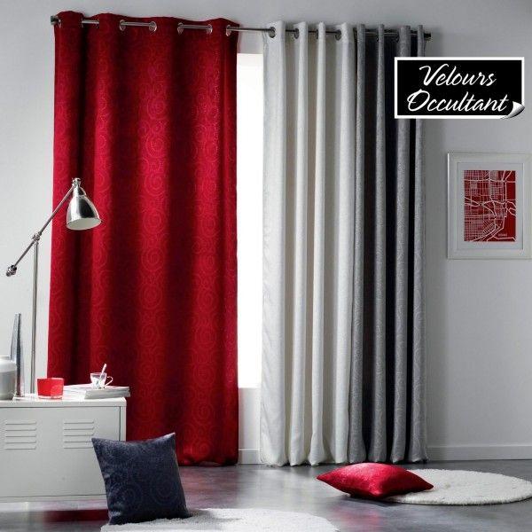 rideau occultant 140 x 240 cm velours noctua rouge