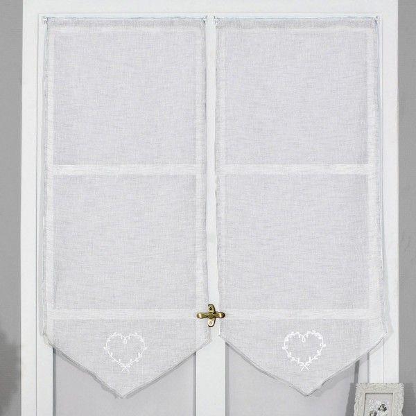 paire de voilages 60 x 160 cm doumis blanc