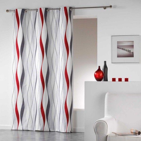 rideau tamisant 140 x 240 cm ondulys rouge