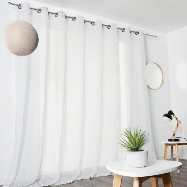 voilage 300 x 240 cm voile de coton blanc